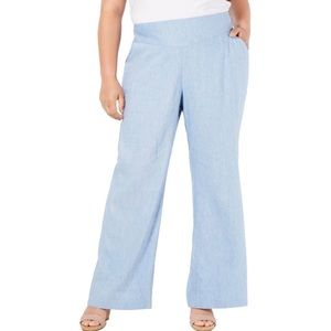 New INC Women's Plus Mid Rise Linen Wide Leg Pants